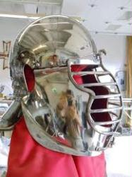 Roman Helm with Fluted Brow Hinged Cheeks and Removeable Cage